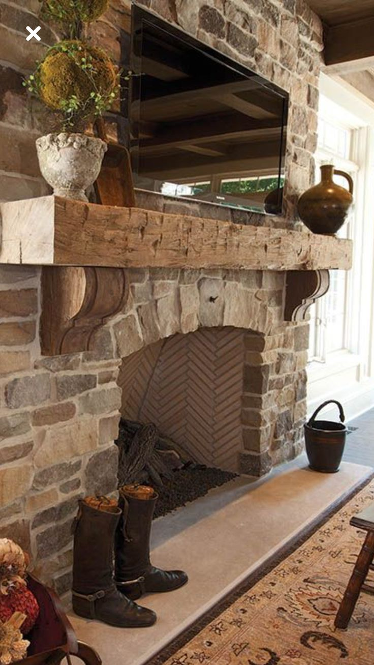 Stacked Stone Fireplace With Mantel Rustic