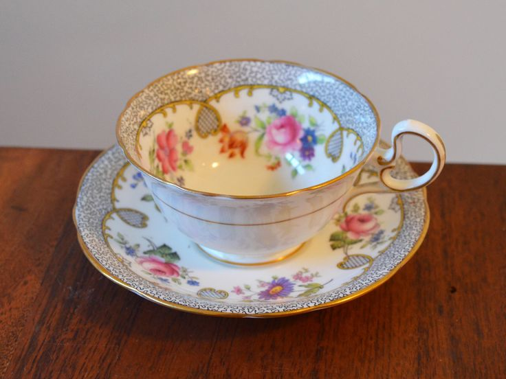 Antique Aynsley England Bone China Tea cup and Saucer - Stamped handpainted 1344; Pink Roses with Grey Coral Pattern edges by Trashtiques on Etsy https://www.etsy.com/ca/listing/525464529/antique-aynsley-england-bone-china-tea