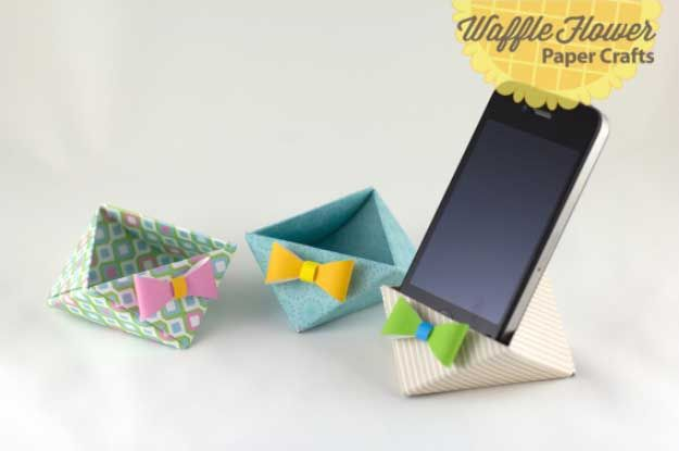 Cool DIY Ideas for Your iPhone iPad Tablets & Phones | Fun Projects for Chargers, Cases and Headphones | iPhone Paper Triangle Stand | http://diyprojectsforteens.com/diy-projects-iphone-ipad-phone/