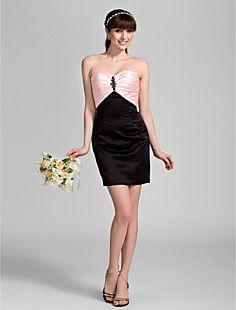 bainha / coluna namorada do joelho-comprimento vestido de cetim da dama de honra (910050)