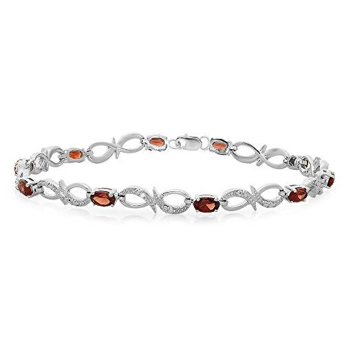 Fine Jewelry Genuine Garnet & Diamond Accent Sterling Silver Bracelet SfOfjY