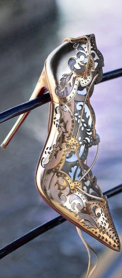 Christian Louboutin ~ High Heel Pumps, Gold/Silver