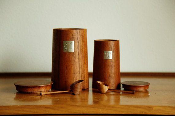 Danish Teak Coffee and Tea Containers / by MicroscopeTelescope