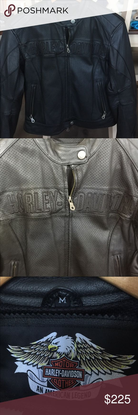 Authentic Harley Davidson leather jacket. This jacket has only been worn 2 times.  It is like new with no wear showing at all.  It has padded elbows.  I purchased directly from Harley store.  It is approximately 10 years old and looks new. Harley-Davidson Jackets & Coats