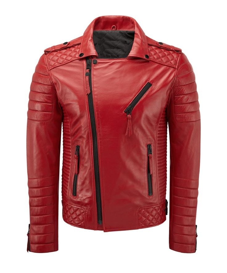 New Style Red Lambskin Leather Bomber Jacket Biker Motorcycle Jackets For Men #LeatherCraze #Motorcycle