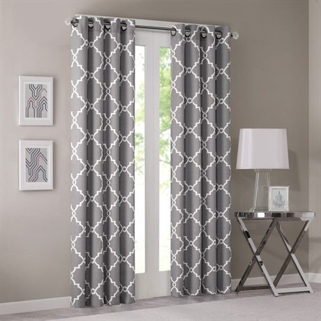 "Refresh your room with the decorative fretwork window panel. The scroll geometric print is simple yet trendy, featuring a light grey ground with a soft beige fretwork for a natural update. The panel is made with a cotton blend basket weave fabric softly filtering the perfect amount of sunlight into your home. Grommet top detail makes it easier to hang, open, and close panels throughout the day.  Fits up to 1.25"" diameter rod."