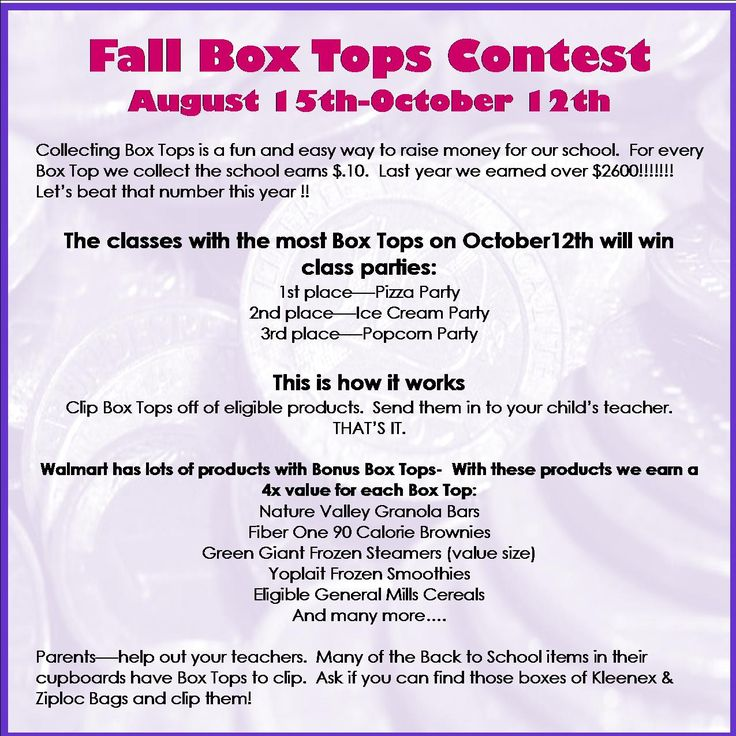 Great Flyer and contest. Box Tops for education.