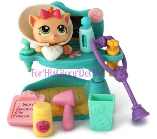 littlest pet shop lps 13 pc baby kitty cat medical set lot