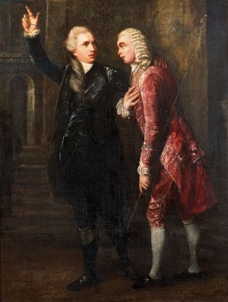 Actors John Henderson (1746-1789) in role of Hamlet and Richard Wilson (1744-1796) in role of Polonius in Hamlet, by William Shakespeare (1564-1616), rehearsal at Covent Garden Theatre in London in 1779 accredited to Benjamin Wilson