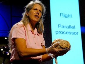 Dr. Jill Bolte Taylor holding a real brain on her TED talk.