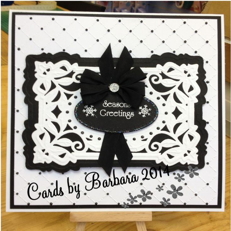 Made using Sue Wilson heart lattice embossing folder and Sue Wilson dies, sentiment from the Christmas collection, black pearlescent pva and finished with black seam binding bow and dazzler