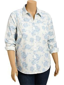 Women's Plus Floral Slub-Weave Oxford Shirts | Old Navy