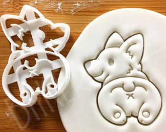 Corgi Butt cookie cutter | cute fluffy Pembroke Welsh dog butts biscuit fondant clay cutter コーギー 코기 one of a kind ooak | Bakerlogy