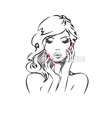 Портрет красоты — стоковая иллюстрация #74057409