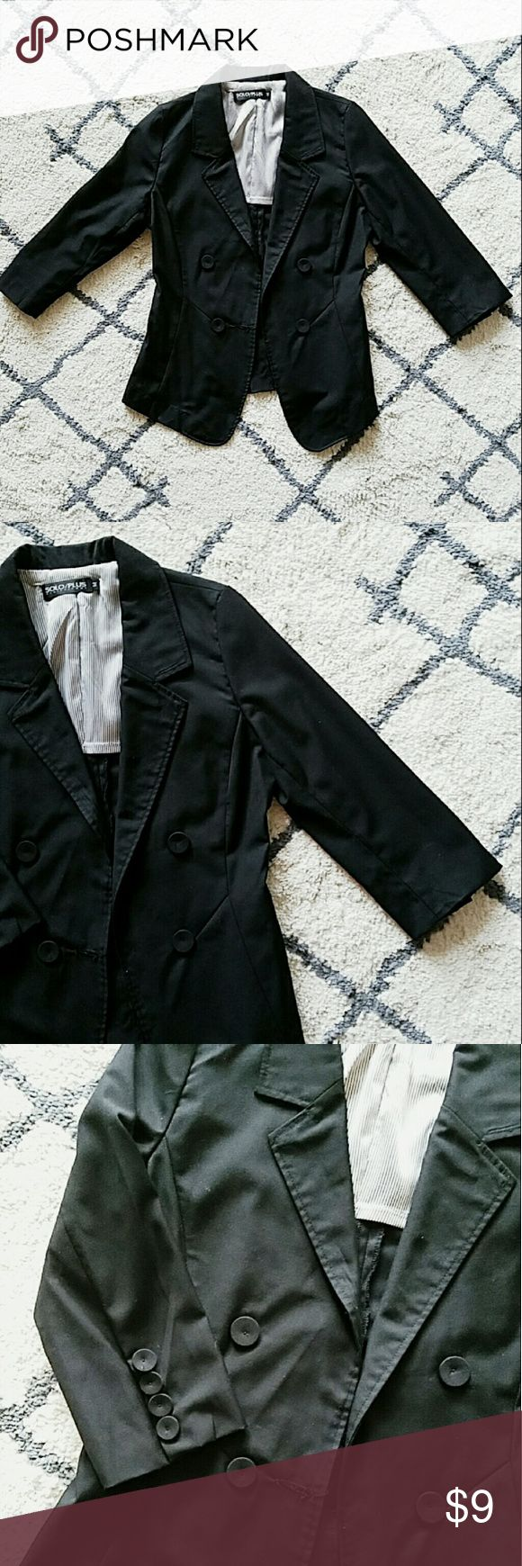 Black 3/4 sleeves button blazer size s light weight jacket, can be paired with trousers or jeans. worn a handful times, very good condition.  measurements: armpit to armpit 34in, shoulder32in, length 23approx. fits xs/s ladies Jackets & Coats Blazers