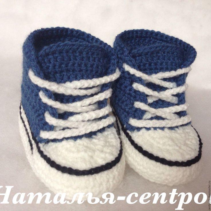 """Купить Пинетки кеды """"Спорт"""" джинс, пинетки вязаные - синий, однотонный, пинетки, пинетки для новорожденных"""