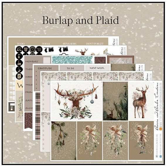 Burlap and plaid nature inspired kit for Big and Classic Happy Planners and Erin Condren planners. By Aurora and Avalon Creations