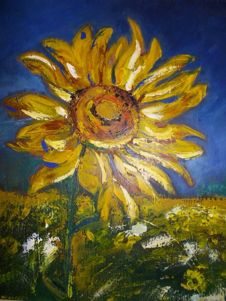 My favourite inspiration - the Sunflower. Unplanned straight on canvas