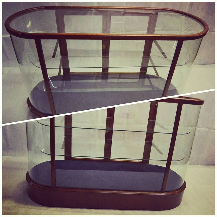 Victorian Style Bow Glass Counter Display Cabinet at D and A Binder | We have this stunning Victorian copy cabinet at Binder's! With two bow ends and shelving, this would be an amazing unit to display jewellery, smalls, clothing, and more. It also has a glass top to allow customers to see products from above, and access to the display from the back. We have two of these lovely cabinets available. Message us at david@dandabinder.co.uk for more information and prices!