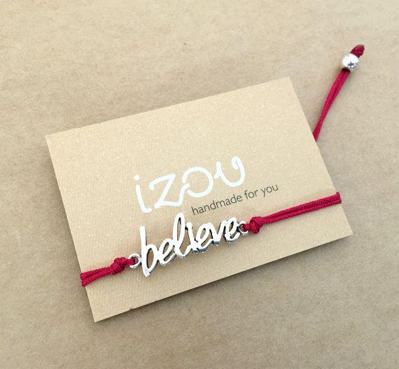 Unisex Silver Plated Believe Message Bar Macrame by IzouBijoux