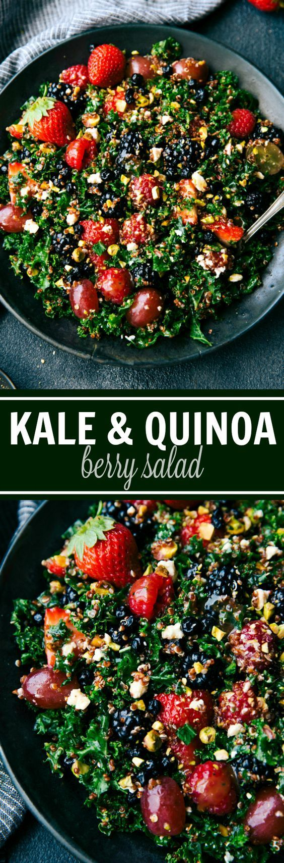 A powerhouse delicious salad made with quinoa, kale, fresh fruit, feta cheese, crushed pistachios, and dried blueberries. Recipe from chelseasmessyapron.com