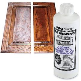 """Cabinet Re-New  -- Instantly renew tired, lackluster wood. Wait! Don't bother with the time-consuming job of stripping, sanding and refinishing cabinetry and molding. Just wipe on Cabinet Re-New and let dry—you'll have that """"new cabinet"""" look with protection that lasts for months!"""