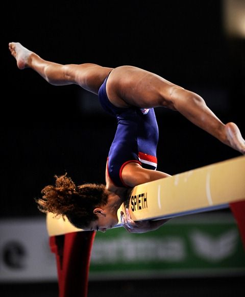 Nude gym balance beam