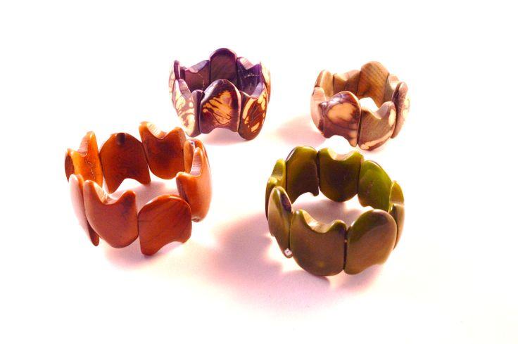 Stylish wavelike design in mellow colours #ecojewelry #handmade #tagua