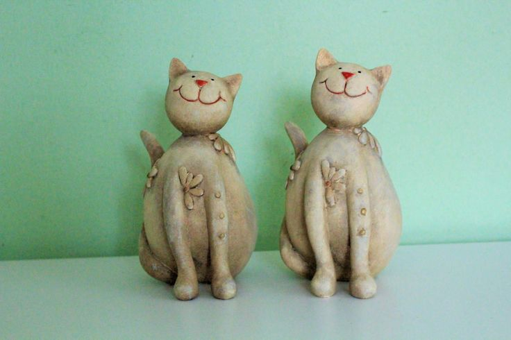 Pair of Vintage German Ceramic Cat Figurine Figure Statue Sculpture Germany Pottery Cat Book Ends Library Office Decor, Table Accessories by Grandchildattic on Etsy