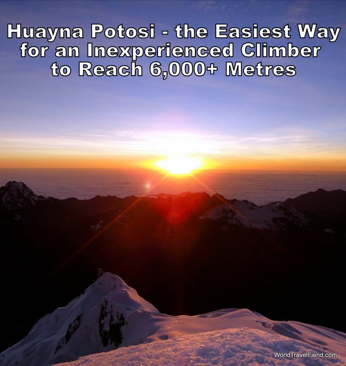 While it is one of the easiest 6,000 metre climbs in the world, reaching the summit of Huayna Potosi is still no walk in the park.  Still, for this view it's totally worth it.   #travel #Bolivia #mountain #MountainClimbing http://www.worldtravelfiend.com/huayna-potosi-experience-1/