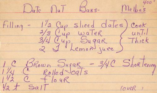 This recipe was written on a lined index card and found in a large collection, date unknown. I've typed it below along with a scanned copy (front side only).