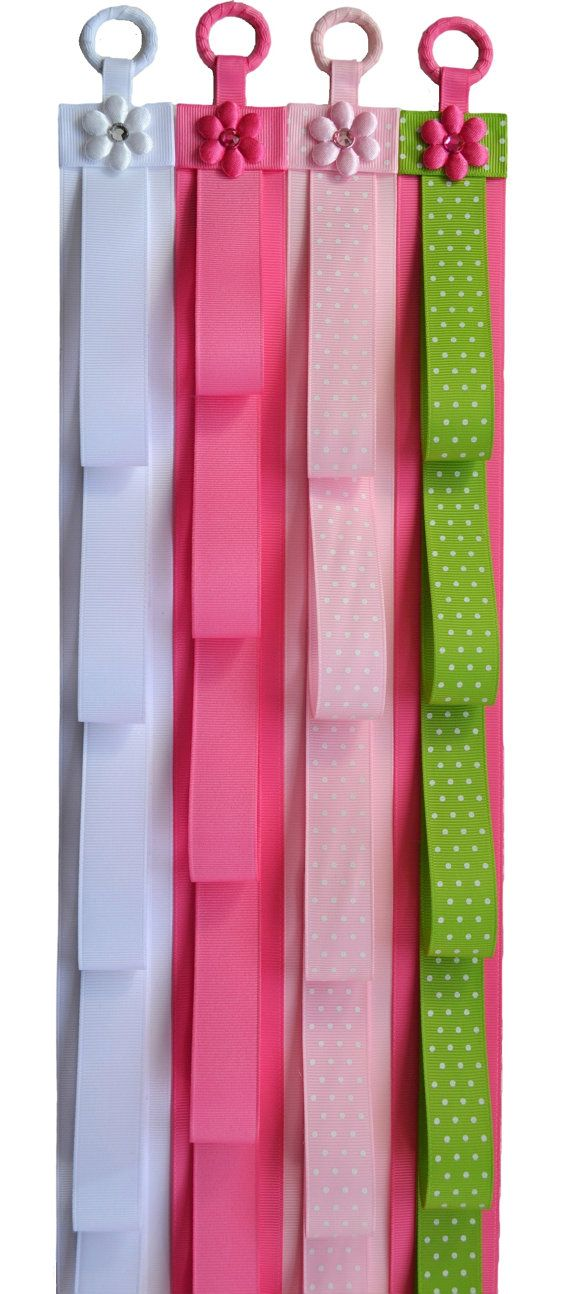 (ONE) Handmade headband holder available in many colors. This hanger is crafted using high quality grosgrain ribbon and features 7 large loops