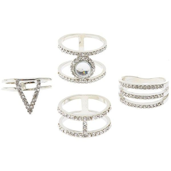 Charlotte Russe Embellished Caged Rings - 4 Pack ($6) ❤ liked on Polyvore featuring jewelry, rings, silver, charlotte russe jewelry, silver statement ring, statement rings, silver cocktail rings and cage ring