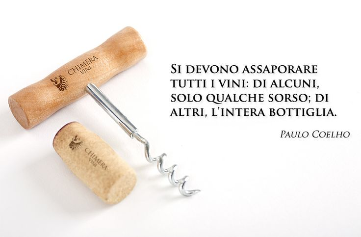 Si devono assaporare tutti i vini: di alcuni, solo qualche sorso; di altri, l'intera bottiglia. All wines should be tasted; some should only be sipped, but with others, drink the whole bottle. #chimeravini #wine #vino #winequotes #aforismi #paolocoelho
