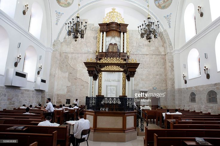 Orthodox Jewish men study at the newly renovated Hurva (The Ruin) synagogue in the Jewish Quarter on September 22, 2011 in Jerusalem's Old City.