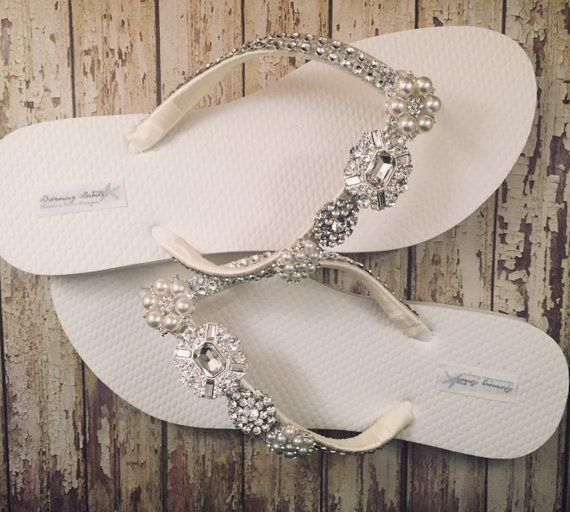 4359d8c40159 Jordan Bridal Flip Flops Rhinestone Custom Flip Flops Pearl Bling Dancing Shoes  Bridal Sandals Wedding Flip Flops Beach Wedding Shoes