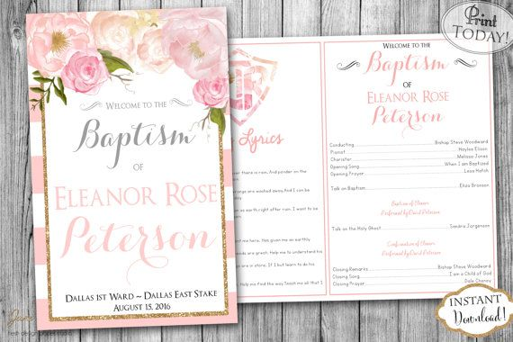 INSTANT DOWNLOAD LDS Girl Baptism Program Fully by JanePaperie