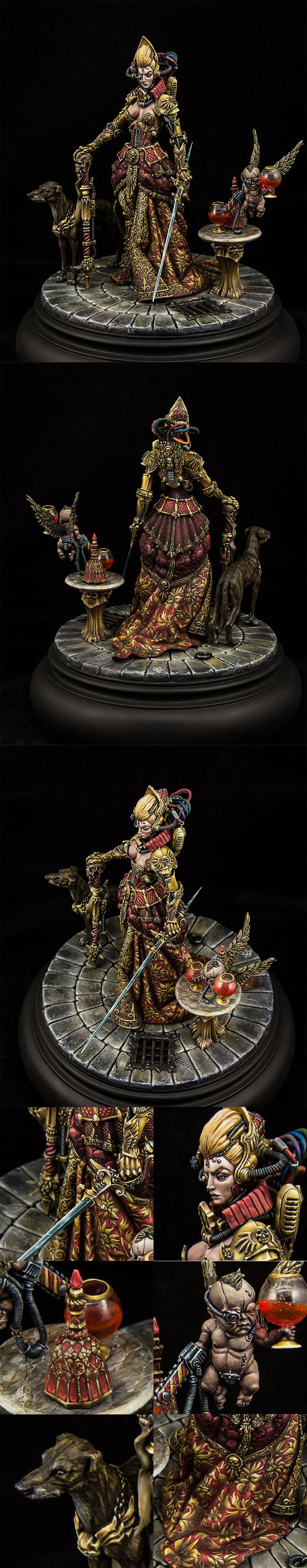 Lady Administrator Itela Justina and cherub Jael by Kurylenko Stanislav.  Found on CoolMini Or Not.  Awesome model and painting great details and composition.