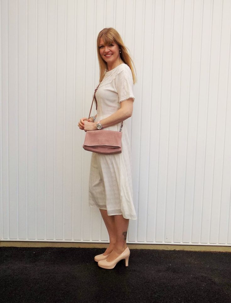 What Lizzy Loves: Pompom Midi Dress with Butterfly Tattoo tights. & Other Stories pompom midi dress, cream dress, romantic dress, day dress, summer dress, spring dress, nude heels, butterfly tattoo tights, pink crossbody bag