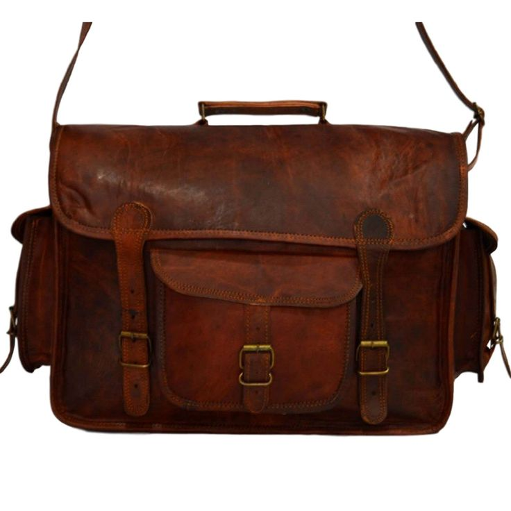 "Vintage Leather Laptop Bag, Messenger Bag or Briefcase for Men & Women. 11"" x 15"" x 5"""