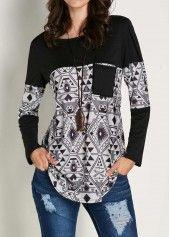 Patchwork Printed Black Long Sleeve T Shirt | liligal.com - USD $24.01