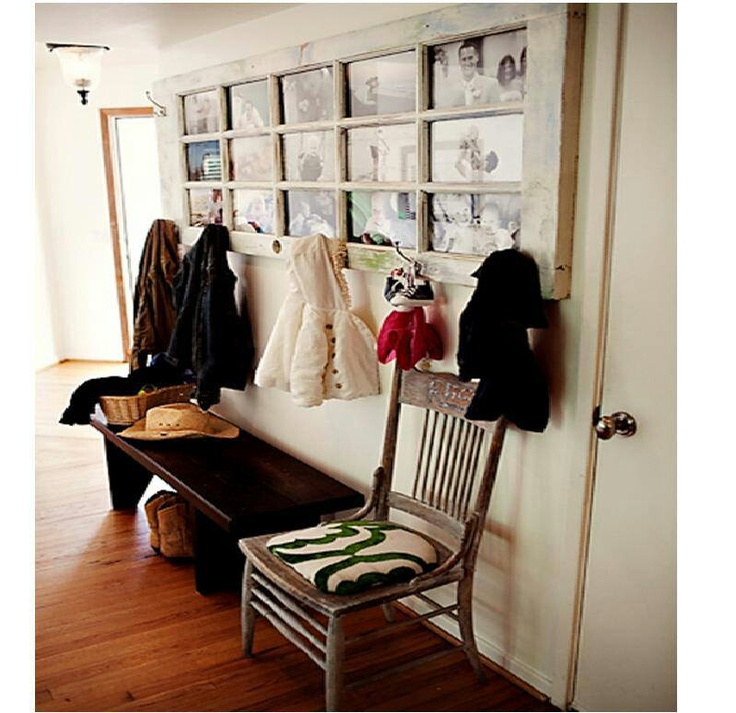 Old door made into picture frame & coat hanger... so creative