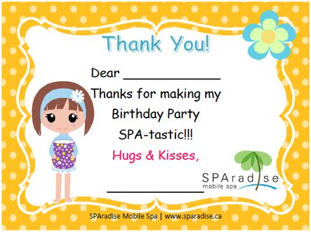 22 best spa party printables images on pinterest mobile spa spa free printable spa party thank you card by sparadise mobile spa reheart Images