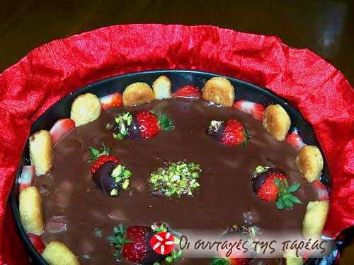 Γλυκό με σαβαγιάρ, φράουλες και σοκολάτα #sintagespareas