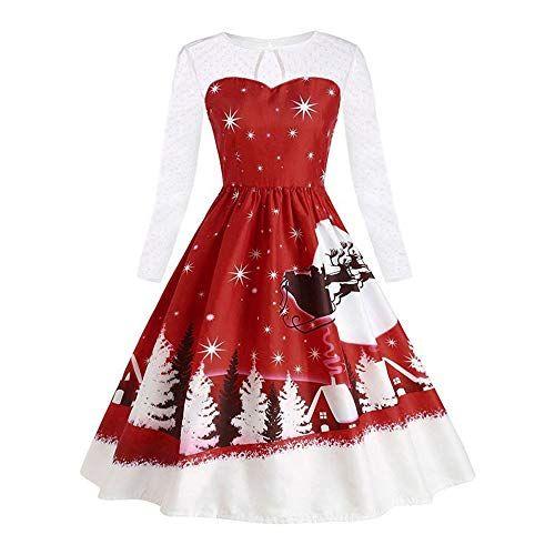 best loved e774f 79311 QinMM-Damen-Weihnachtskleid-Vintage-Spitze-Langarm-Print ...
