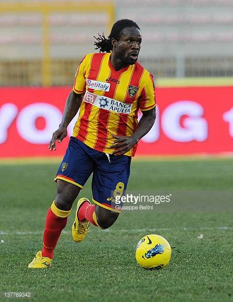 Christian Obodo of Lecce in action during the Serie A match between US Lecce and AC Chievo Verona at Stadio Via del Mare on January 22 2012 in Lecce...