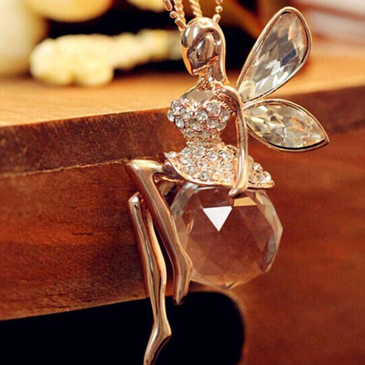 2016 Fashion Gold Plated Crystal Angel Wings Long Chain Necklace/Ahiny Butterfly Fairy Necklace Jewelry Women+Free Shipping