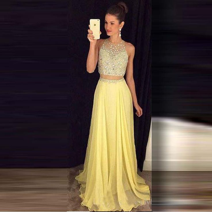 >> Click to Buy << Yellow 2 Piece Prom dress Crystals Beaded Jewel Zipper Court Train Chiffon Evening Party Gown #Affiliate