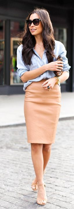 With Love From Kat Denim Button Up Camel Leather Pencil Skirt Outfit Idea