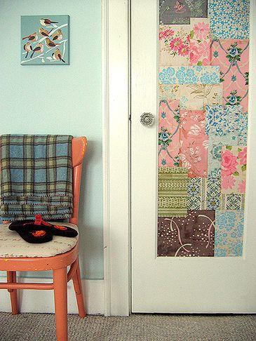Patchwork-Wallpapered Closet Door.